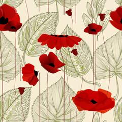 Fototapete - Floral seamless pattern, poppy