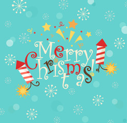 Lettering - merry Christmas in flat style. Vector illustration.