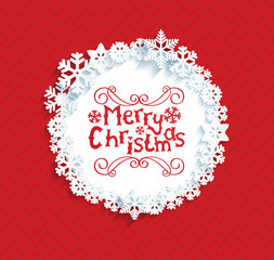 Circular frame with snowflakes with shadow and lettering merry Christmas. Christmas red background. Vector illustration.