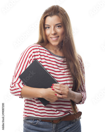 Portrait Of A Young Woman Holding A Book Stock Photo And