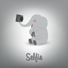 Vector scalable illustration of cute baby elephant with camera