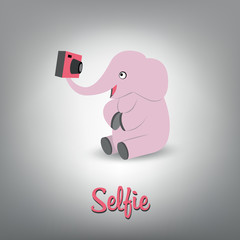 Vector scalable illustration of pink baby elephant with camera