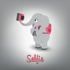 Vector scalable illustration of cute baby elephant traveller wit