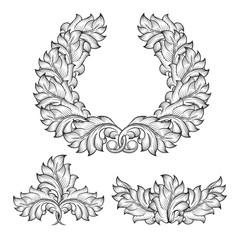 Wall Mural - Vintage baroque floral leaf scroll ornament engraving frame