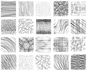 Wall Mural - Hatch, dotted and linear ink hand drawn textures vector set
