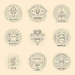 Bakery and pastry hipster vintage logo set
