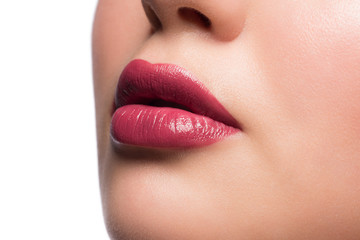 Woman lips with lipstick