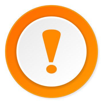 exclamation sign orange circle 3d modern design flat icon on white background