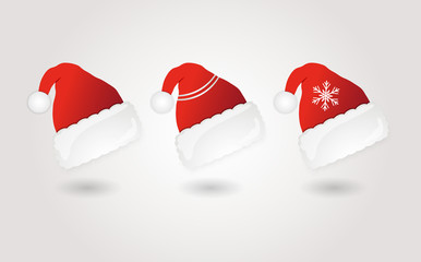 Set of red santa hats. Vector.