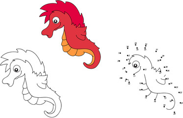 Cartoon sea horse. Vector illustration. Coloring and dot to dot