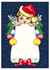 Holiday background  with little angel and Christmas decorations