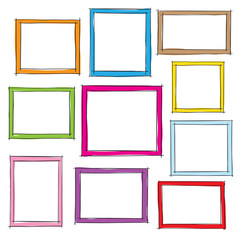 Photo frames doodle sketch, vector