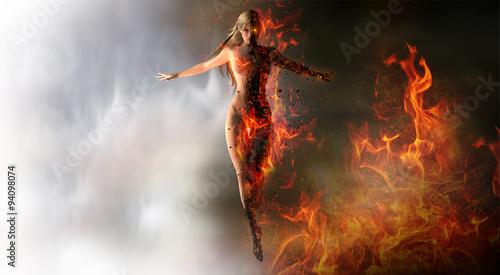 Девушка, огонь, взгляд бесплатно