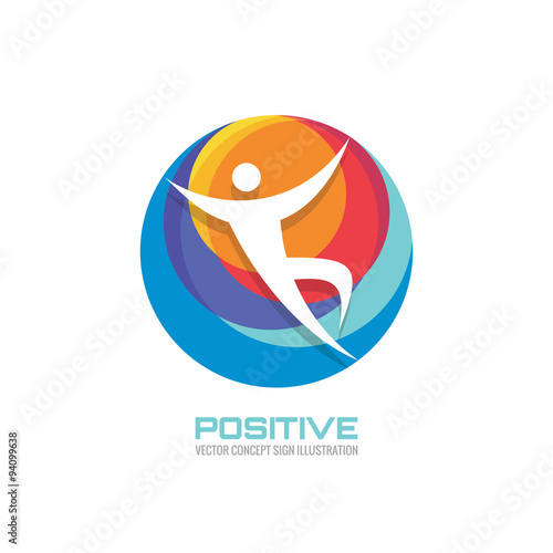 Human In Colored Circle Creative Logo Sign For Sport Club Health