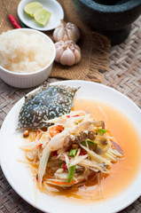 spicy papaya salad with blue crab, som tum poo ma