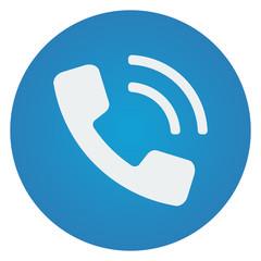 Flat white Phone icon on blue circle