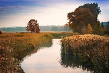 Elk River estuary to the Lake Haleckie. Masuria, Poland.