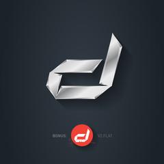 Letter D, Vector silver font. Elegant Template for company logo.
