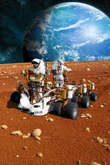 Two Man Rover - Elements of this image furnished by NASA