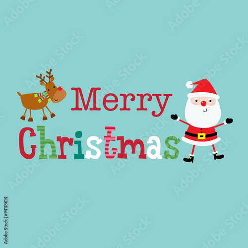 Christmas Design With Merry Text Between Cute Santa Claus And Reindeer Vector Illustration Suitable