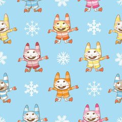 Vector winter seamless pattern with cartoon rabbits  and snowflakes on a blue  background.