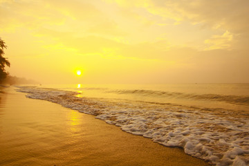 Stock Photo:.Colorful sunset at the sand tropical beach