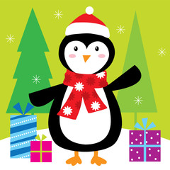 penguin's christmas gift with green background suitable for your cute christmas greeting card
