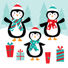 penguins celebrate christmas with retro color design suitable for christmas background or christmas greeting card
