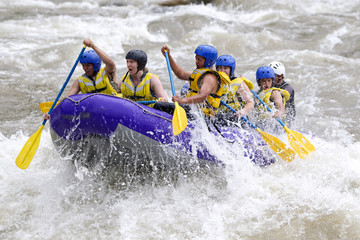 raft water white whitewater woman patate team men river fun group of mixed trekker men and lady with guided by specialist pilot on whitewater creek rafting in ecuador raft water white whitewater woma