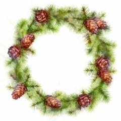 Christmas Drawing Tree Branches Wreath