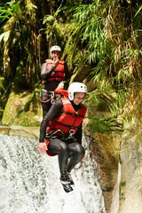 Extreme Canyoning Waterfall Jump