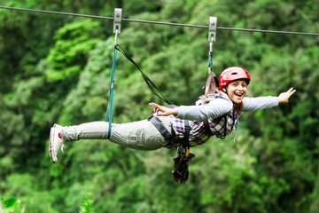 Tourist Woman Zip Line Experience Expression