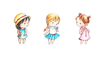 set of little girls