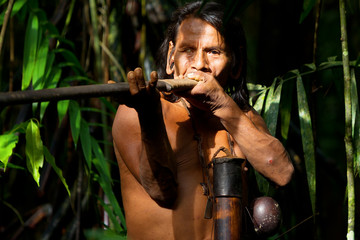Huaorani Indigenous Hunter In Amazon Basin