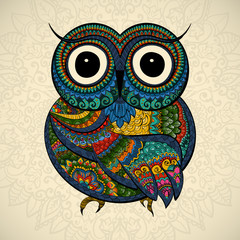 Vector illustration of ornamental owl. Bird illustrated in