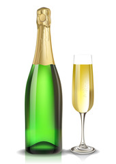 Vector champagne bottle and glass. Created with gradient meshes.