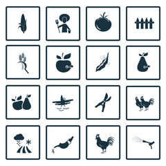 Set of  sixteen agriculture icon