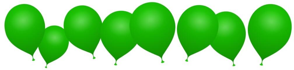 Bannière ballons verts sur fond blanc