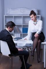 Female boss in workplace