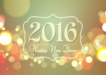 Happy New Year 2016 on Bokeh Light Vintage Background