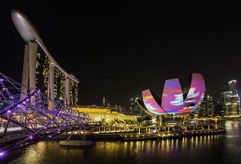 Foto op Plexiglas Singapore Night panorama of Singapore
