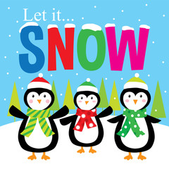 let it snow penguins cute design suitable for your kids christmas greeting card