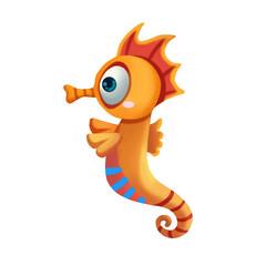 Illustration: Elements Set: Sea Horse. Realistic Cartoon Life Style.