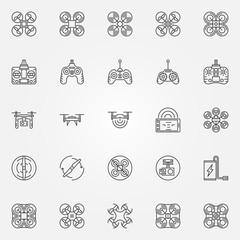 Drone linear icons set