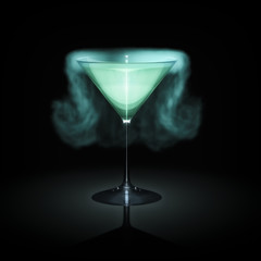 blue smoking cocktail glass