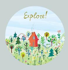 Explore nature card - round design