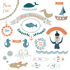 Fish restaurant invitation or menu elements - funny design