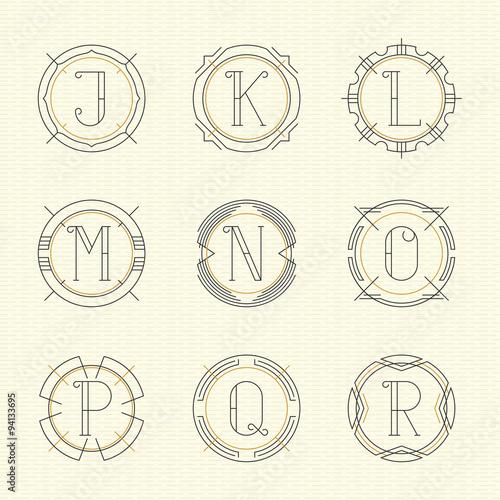 Vector Set Of Monogram Logo Emblem Templates In Trendy Outline Style Letters J