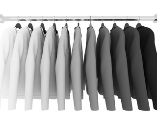 black and white  shirts with hangers isolated on white,3d