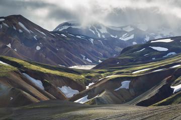 Dramatic light in the mountains of Landmannalaugar, Iceland.